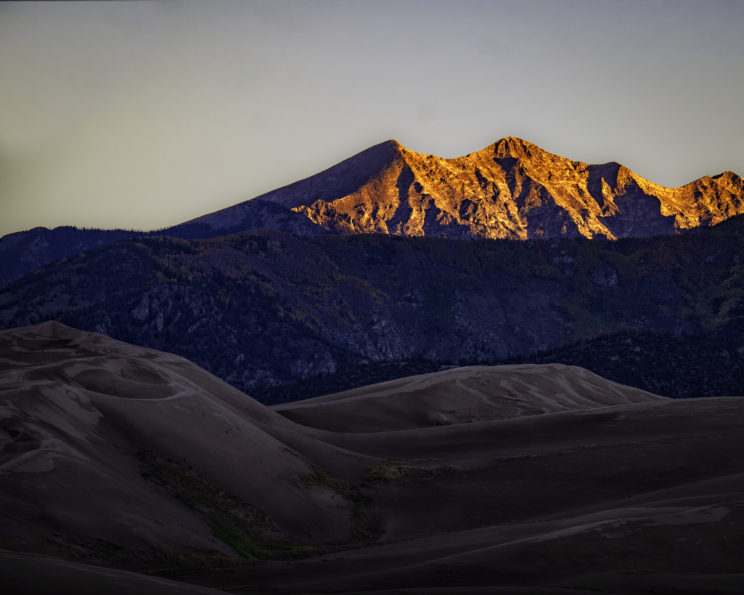 Great Sand Dunes NP and the Sangre De Christo Mountains at sunrise.